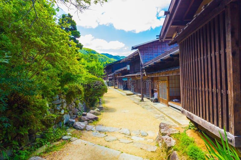 传统日本木农村议院Tsumago H 免版税库存照片