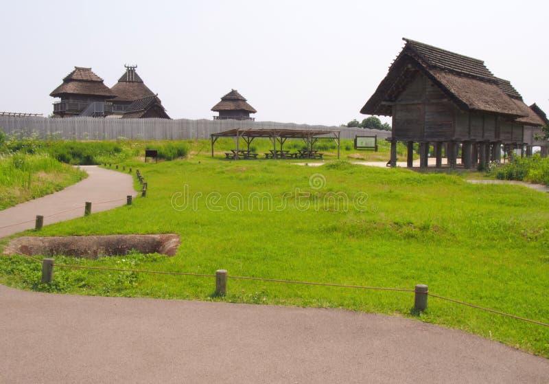 传统日本议院在Yoshinogari历史公园 免版税库存照片
