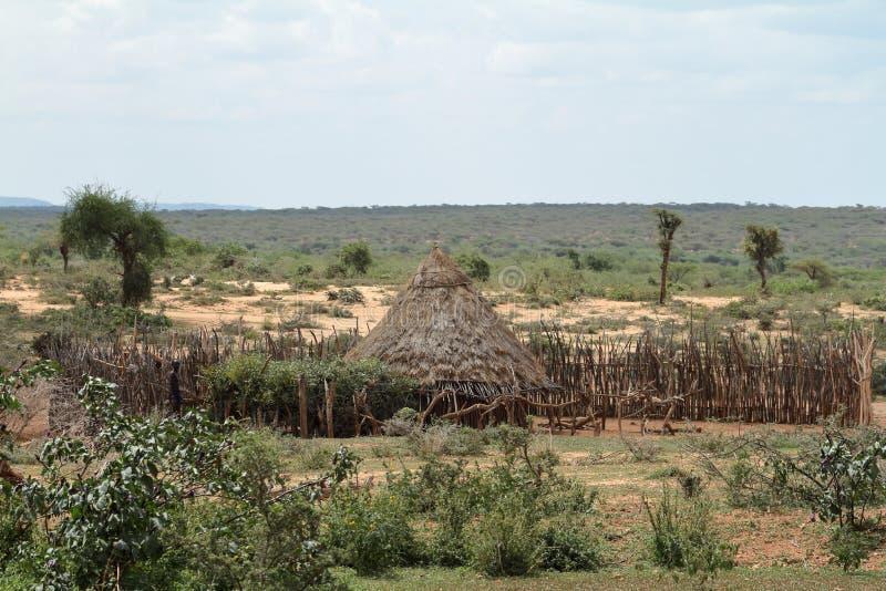 传统村庄和秸杆小屋在埃塞俄比亚的Omo谷 免版税库存照片