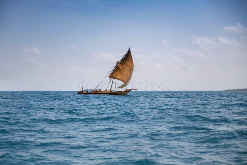 传统桑给巴尔小船单桅三角帆船航行在海 免版税库存图片