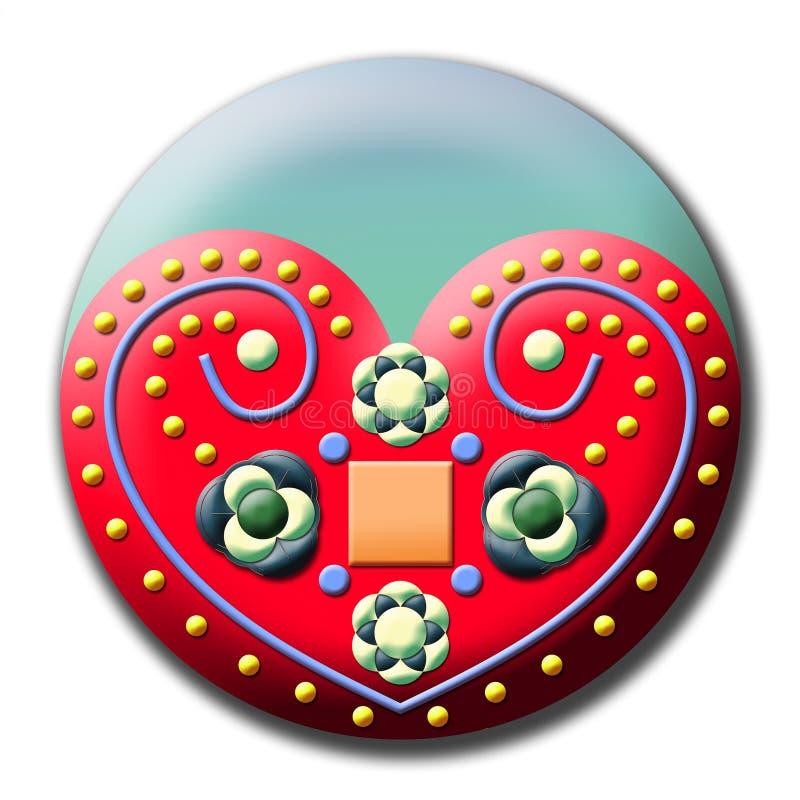 传统民间艺术心脏设计 向量例证