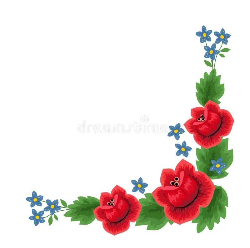 传统民间花卉样式例证 向量例证