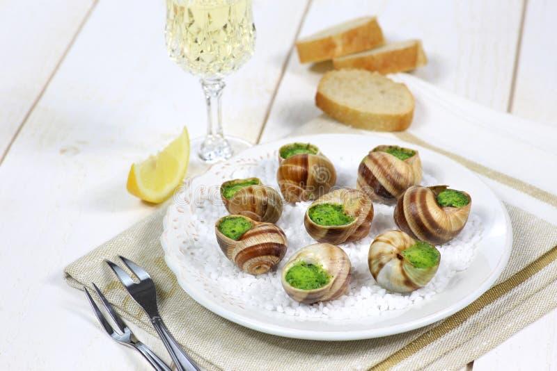 传统法国烹调:蜗牛调味汁伯根地 库存照片