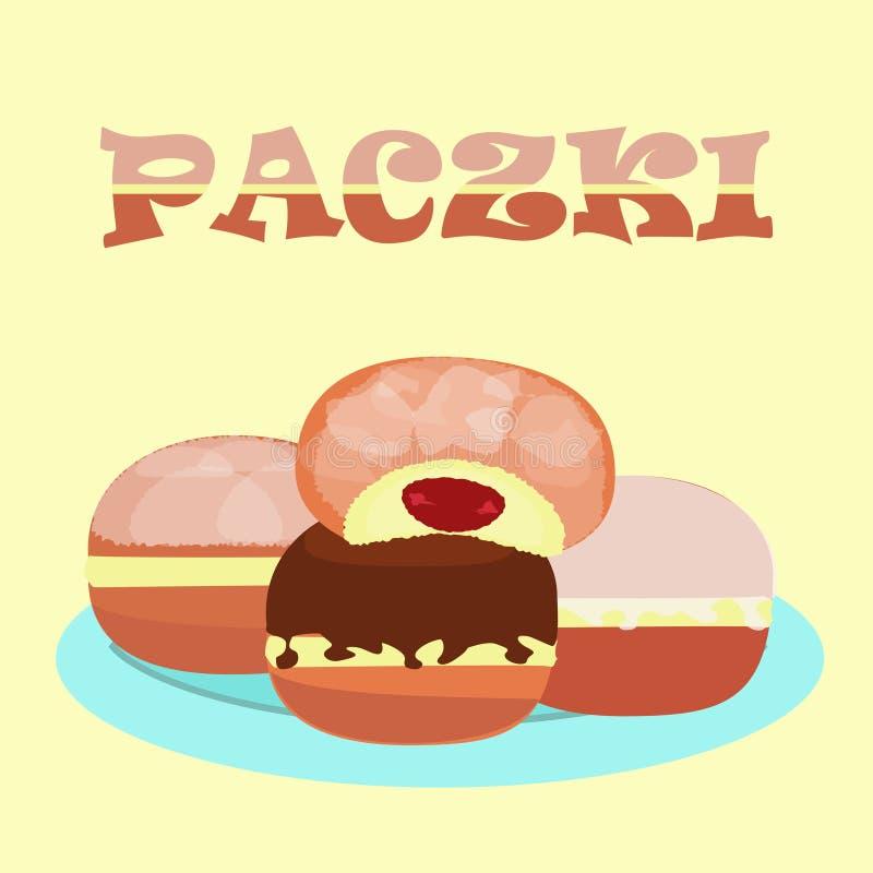 传统波兰多福饼praczki 向量例证