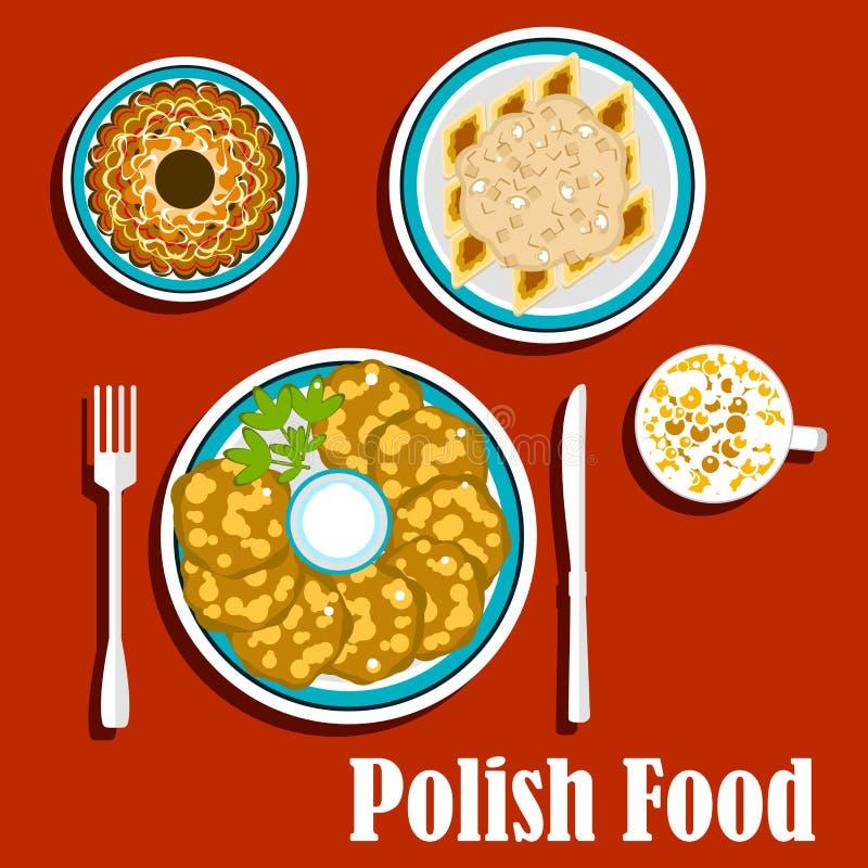 传统波兰盘和点心 皇族释放例证