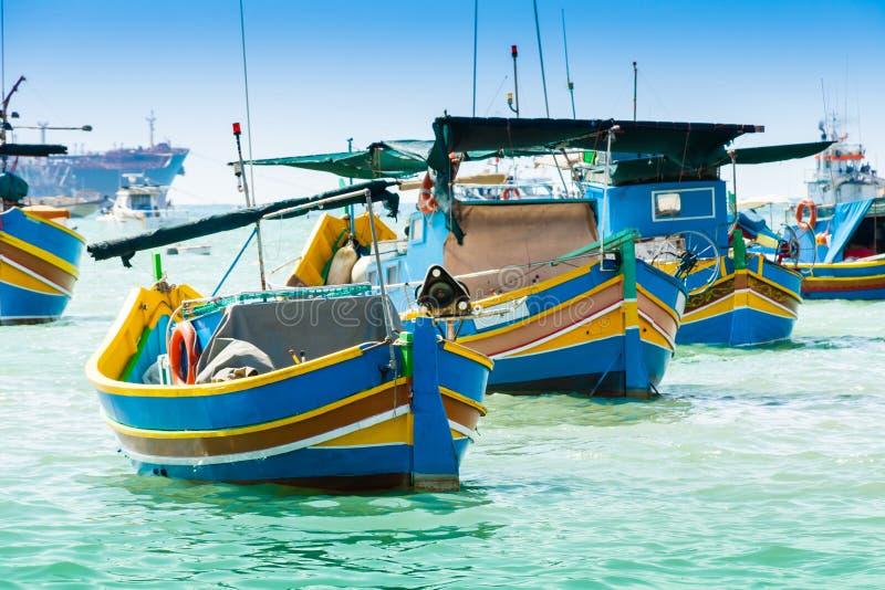 传统渔船在Marsaxlokk,马耳他 库存照片