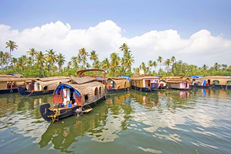 传统游艇, Alleppey,喀拉拉,印度 免版税库存图片