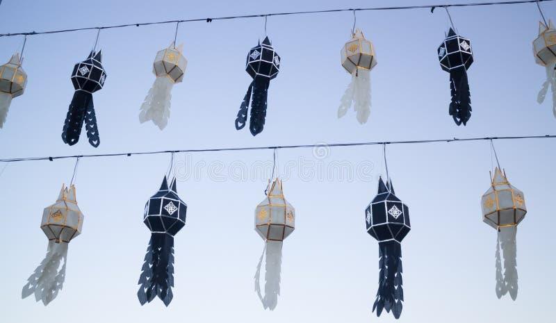 传统灯笼泰国lanna北泰国颜色黑色 库存图片