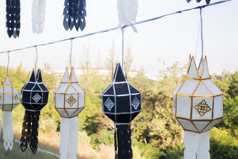 传统灯笼泰国lanna北泰国颜色黑色 免版税库存照片