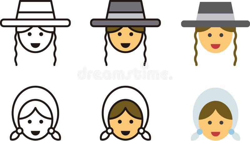 传统犹太男人和妇女 库存例证