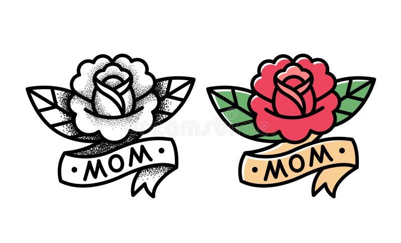 传统玫瑰色纹身花刺 向量例证