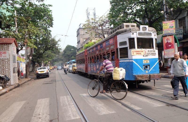 传统电车在加尔各答 库存图片