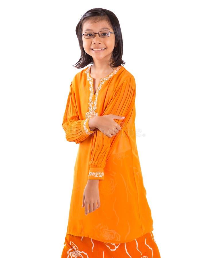 传统礼服的马来的女孩我 库存图片