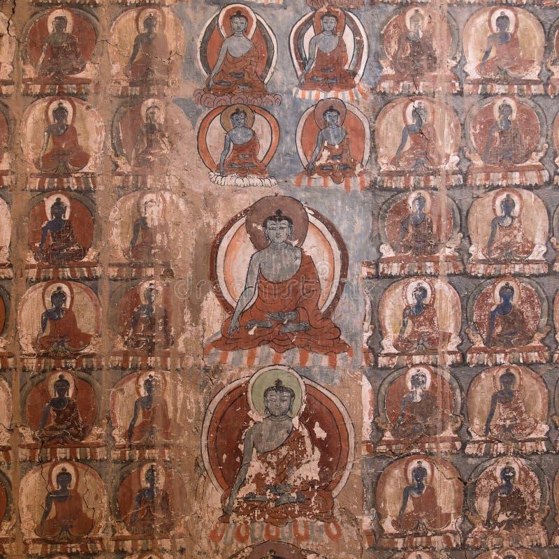 传统绘画艺术杰作关于菩萨故事的在寺庙墙壁上在Tiksey修道院里 Ladakh,印度 免版税库存照片