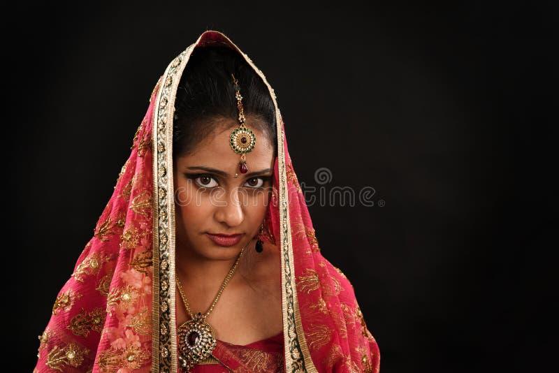 传统莎丽服的印地安妇女 库存图片