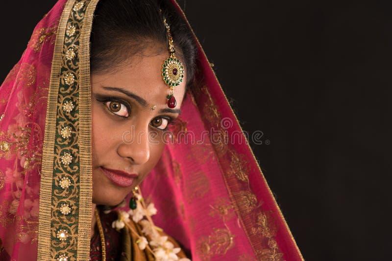 传统莎丽服礼服的年轻南印地安妇女 库存照片