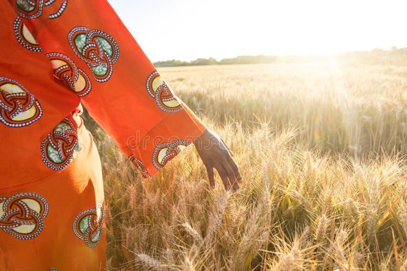 传统衣裳的非洲妇女走用她的在a的手的 免版税库存照片