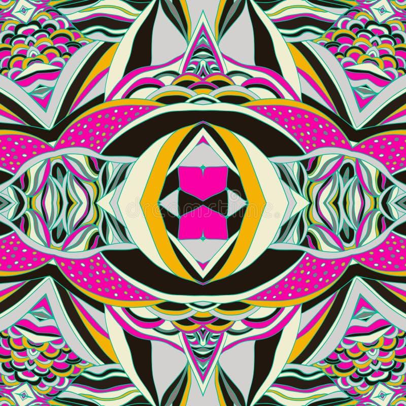 传统装饰佩兹利方巾 与艺术性的样式的手拉的五颜六色的阿兹台克样式 向量例证