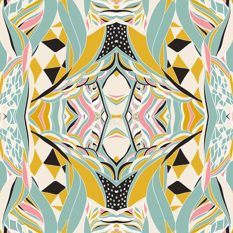 传统装饰佩兹利方巾 与艺术性的样式的手拉的五颜六色的阿兹台克样式 库存例证