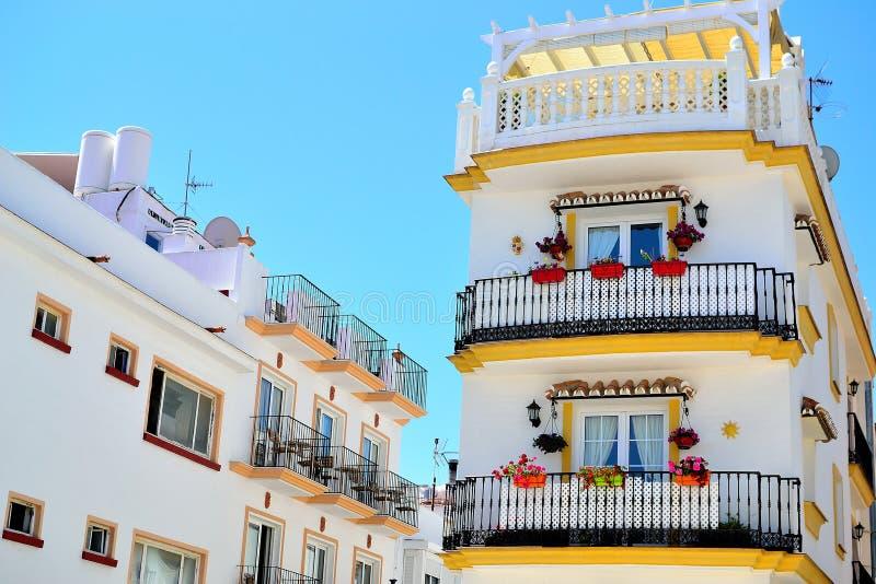 传统西班牙房子在托雷莫利诺斯角,太阳海岸,西班牙 库存图片