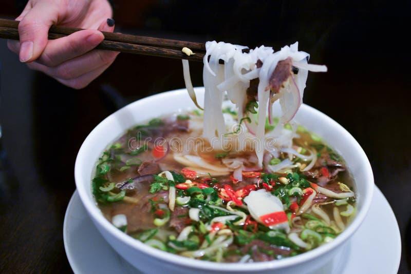 传统越南牛肉汤Pho Bo 免版税图库摄影
