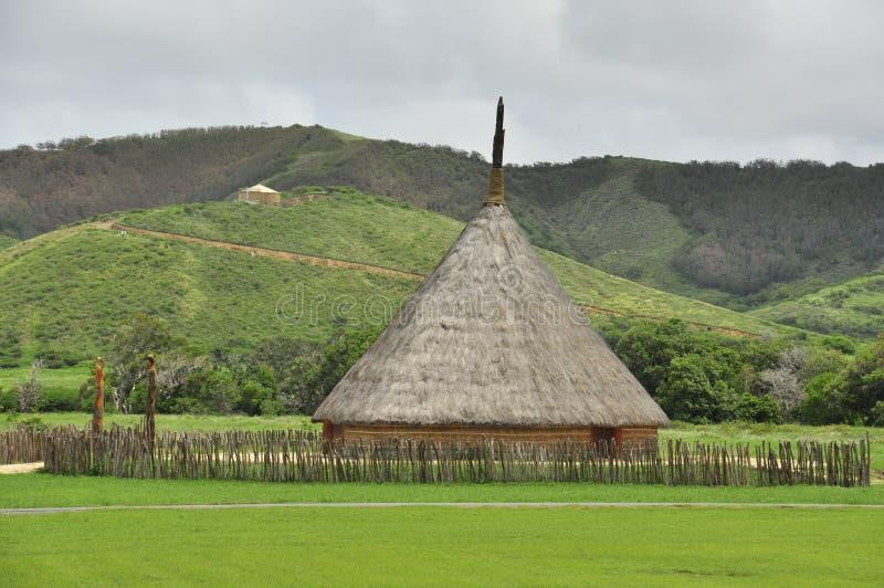 传统部族房子在新喀里多尼亚 免版税库存图片