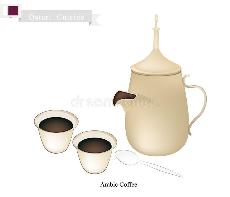 传统阿拉伯咖啡,普遍的Dink在卡塔尔 库存例证