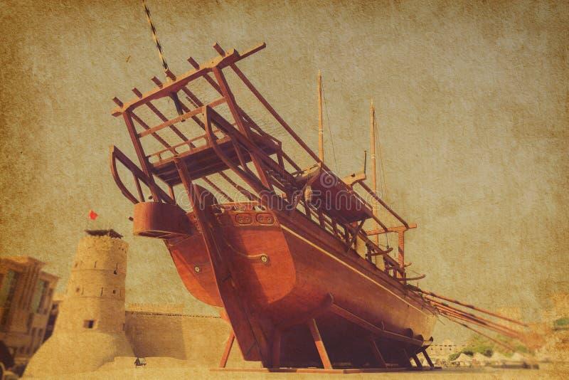 传统阿拉伯的单桅三角帆船 库存图片