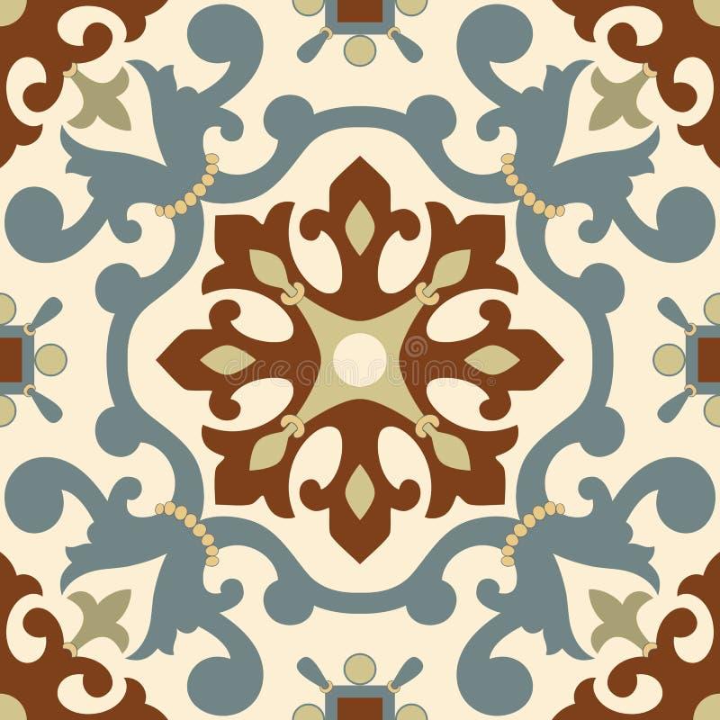 传统阿拉伯装饰品无缝为您的设计 桌面墙纸 背景 伊兹尼克 库存例证