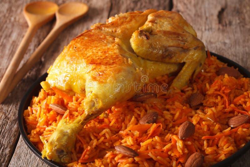 传统阿拉伯食物:与鸡特写镜头的kabsa 水平 免版税库存照片