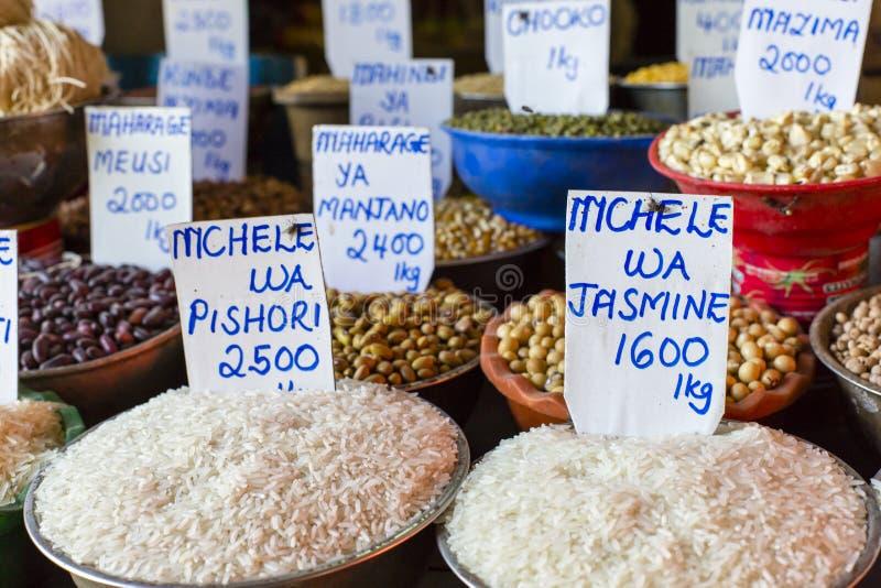 传统食物市场在桑给巴尔,非洲 图库摄影
