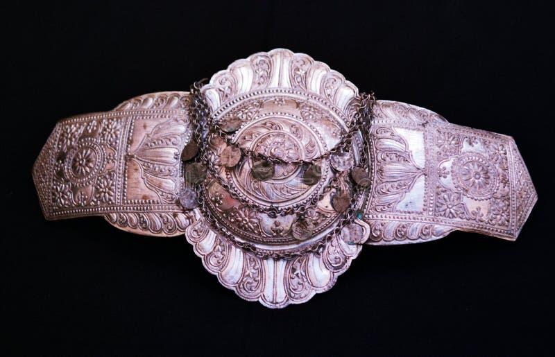 传统马其顿皮带扣装饰 图库摄影