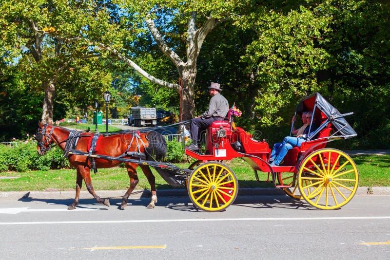 传统马支架在中央公园,曼哈顿, NYC 图库摄影