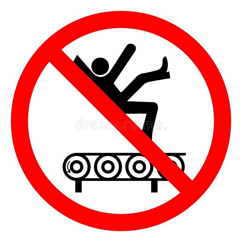 伤害危险从传动机标志标志,传染媒介例证,在白色背景标签的孤立的秋天危险 EPS10 向量例证