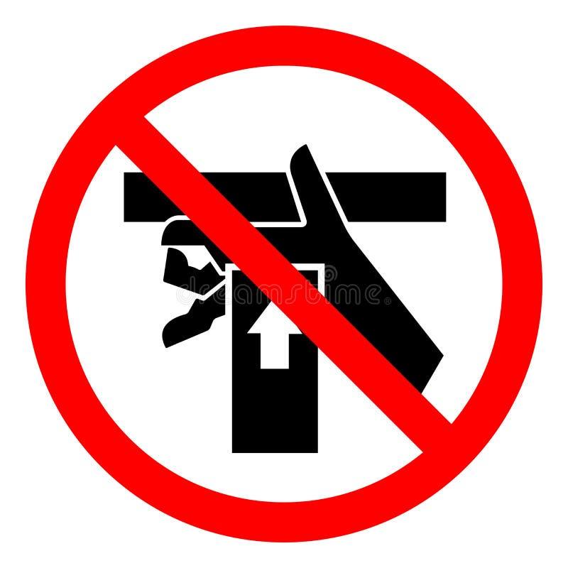 伤害危险手从标志标志,传染媒介例证,在白色背景标签的孤立下面击碎力量 EPS10 库存例证