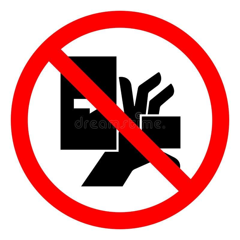 伤害危险手击碎从左标志标志,传染媒介例证,在白色背景标签的孤立的力量 EPS10 库存例证