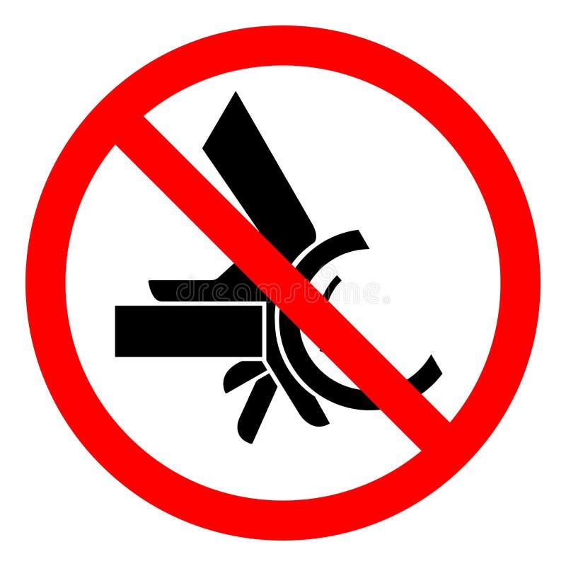 伤害危险手易碎路辗扭点标志标志,传染媒介例证,在白色背景标签的孤立 EPS10 库存例证