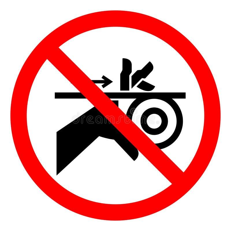 伤害危险手缠结传送带和路辗标志标志,传染媒介例证,在白色背景标签的孤立 EPS10 库存例证