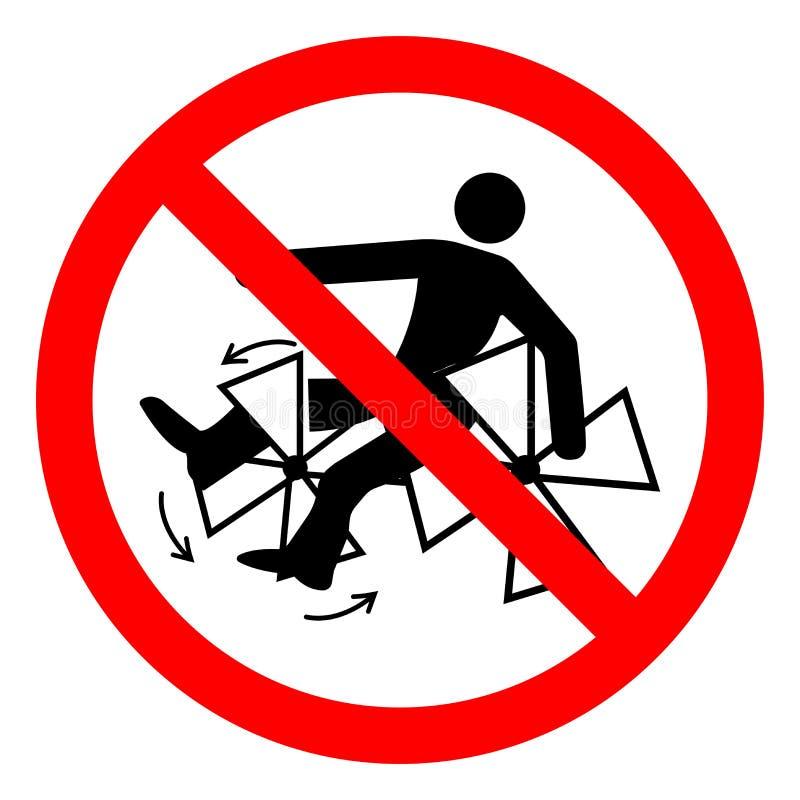 伤害危险转动的桨将击碎卷入或截肢标志标志,传染媒介例证,在白色背景标签的孤立 库存例证