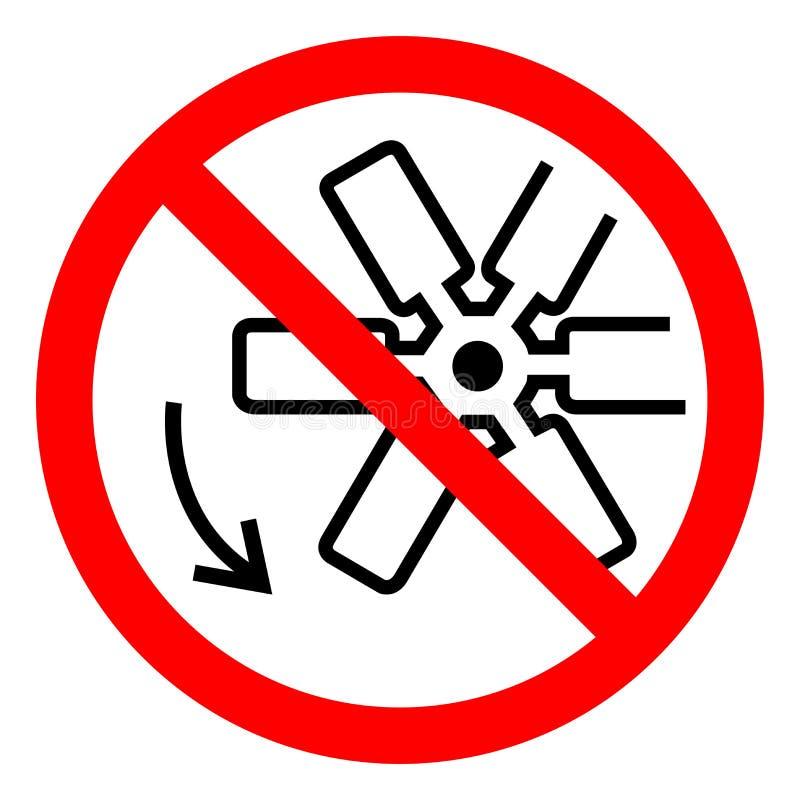 伤害危险转动的风扇叶片标志标志,传染媒介例证,在白色背景标签的孤立 EPS10 向量例证