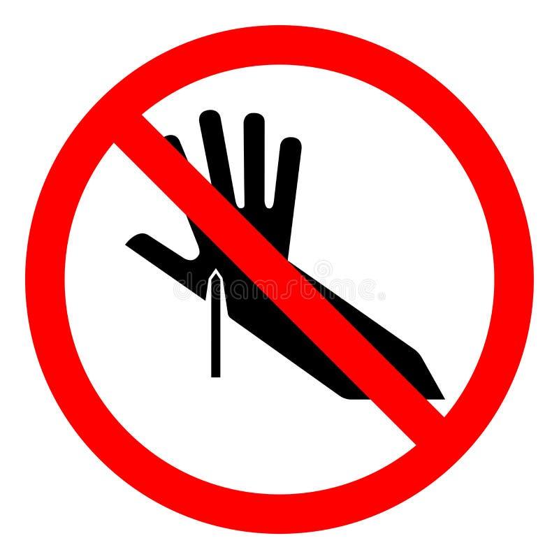 伤害危险锋利的点标志标志,传染媒介例证,在白色背景标签的孤立 EPS10 库存例证