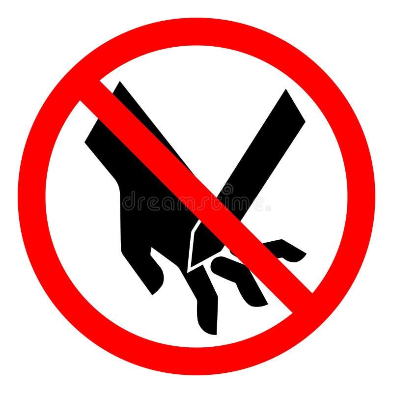 伤害手指危险切口渔了刀片标志标志,传染媒介例证,在白色背景标签的孤立 EPS10 向量例证