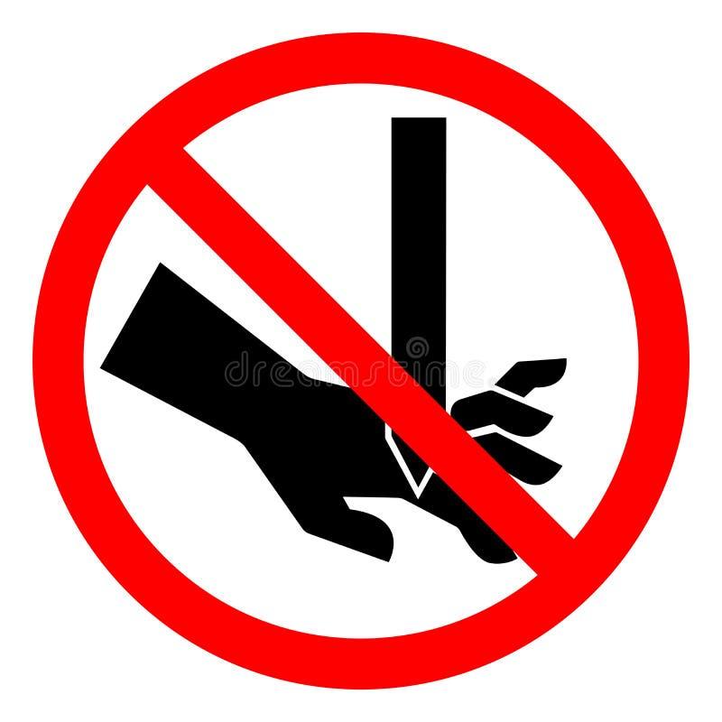 伤害手指平直的刀片标志标志,传染媒介例证,在白色背景标签的孤立危险切口  EPS10 皇族释放例证