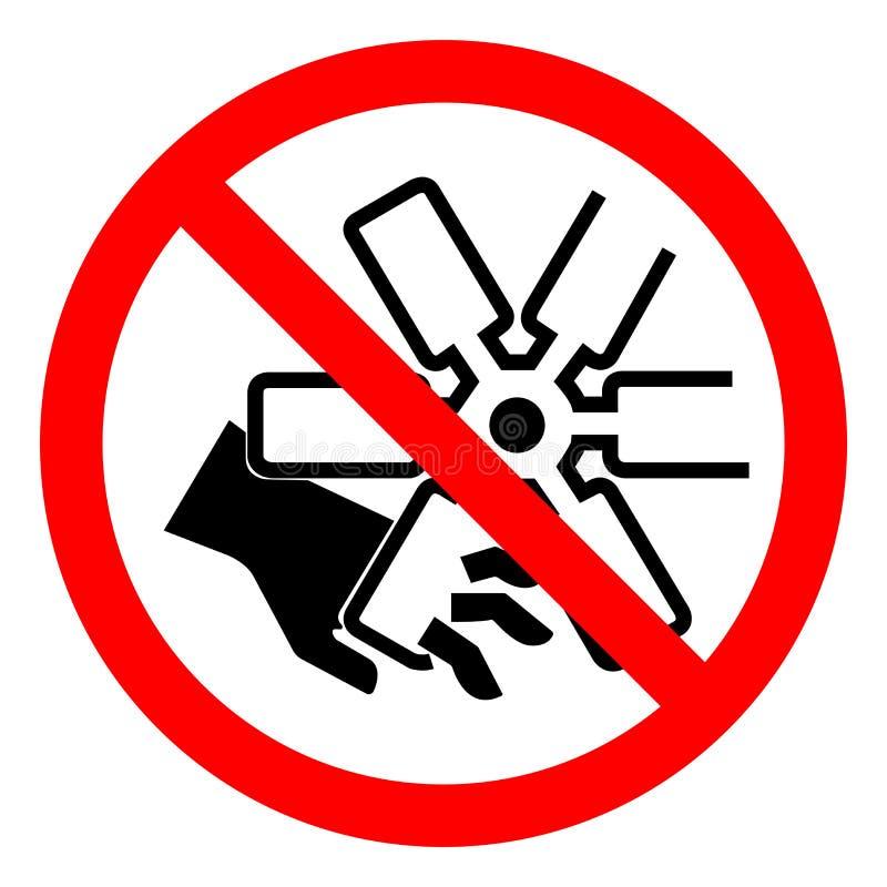 伤害手指或手发动机风扇标志标志,传染媒介例证,在白色背景标签的孤立危险切口  EPS10 向量例证