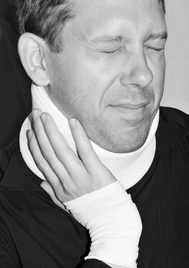 伤害脖子 免版税库存图片