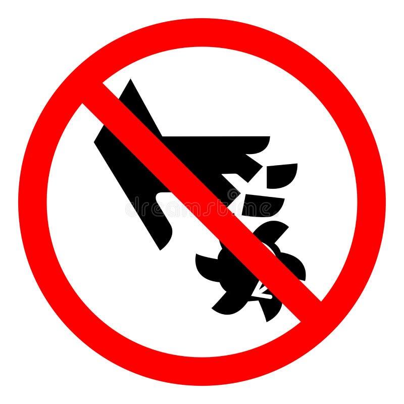 伤害转动刀片标志标志,传染媒介例证,在白色背景标签的孤立的手指危险切口  EPS10 库存例证