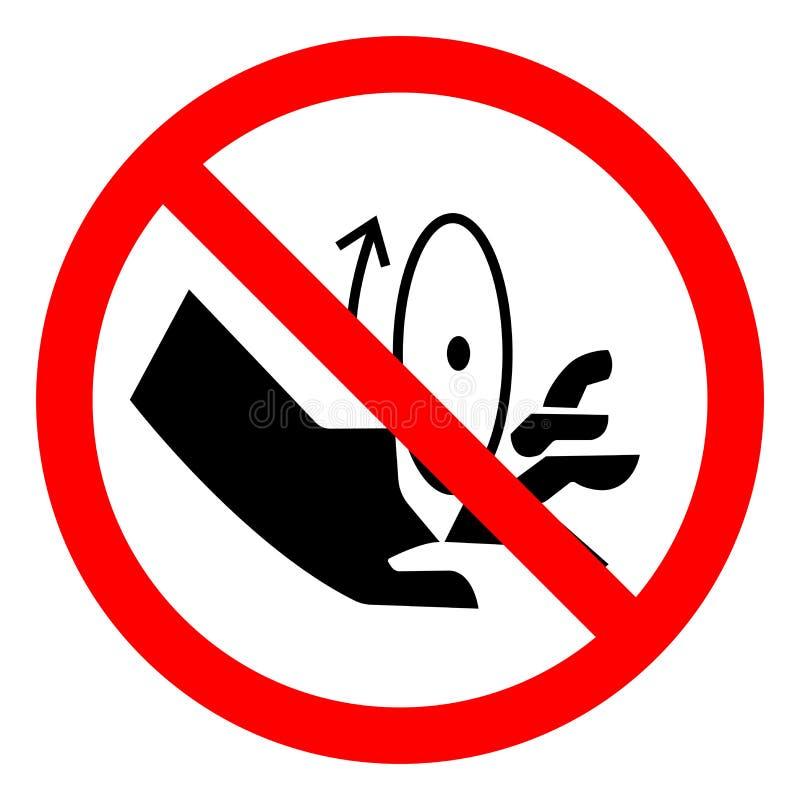 伤害转动的刀片标志标志,传染媒介例证,在白色背景标签的孤立 EPS10 库存例证