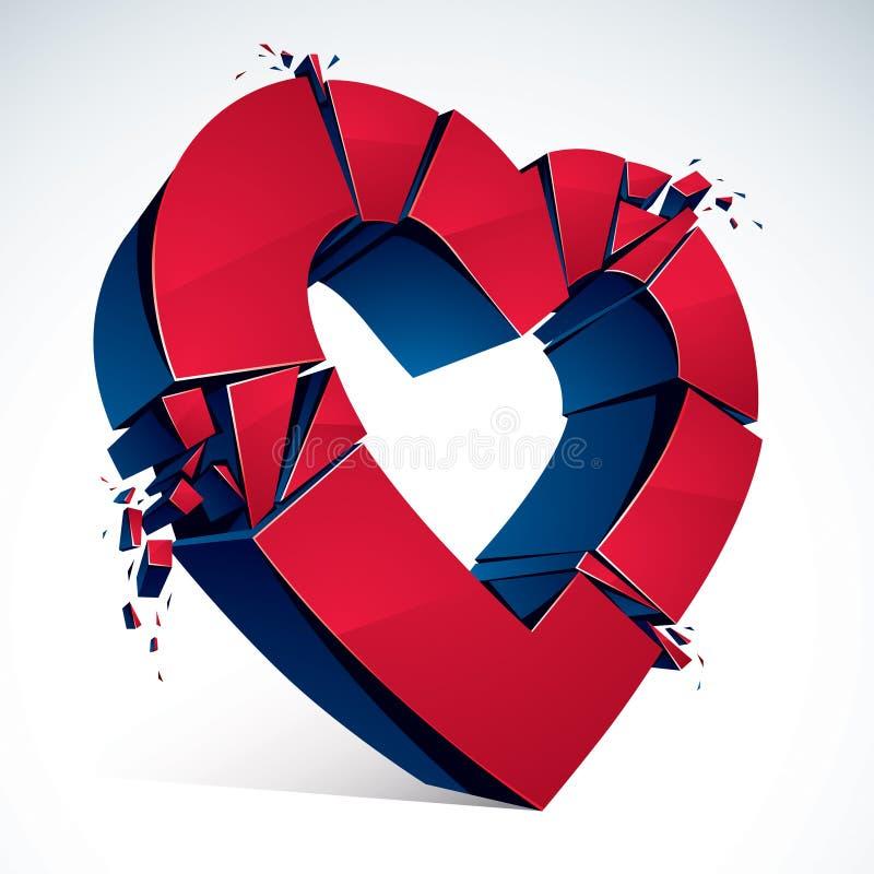 伤心概念终止,3D爆炸对片断的心脏标志现实传染媒介例证 创造性的想法打破 库存例证