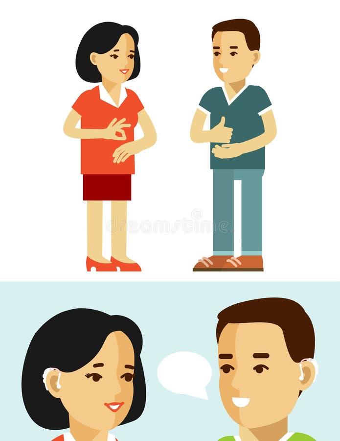 伤残聋人概念 有助听器的人们 向量例证