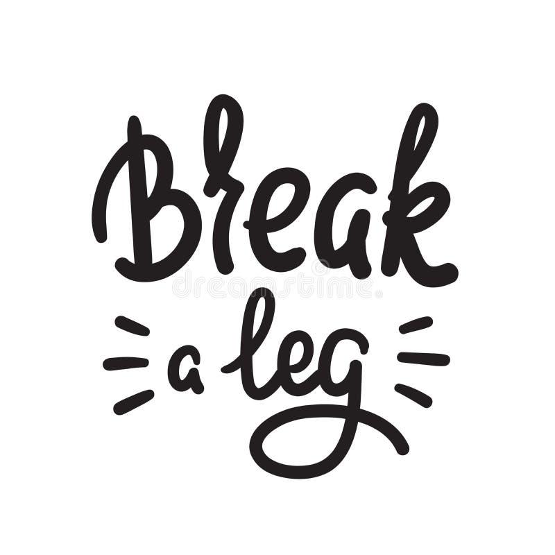 伤腿-简单启发和诱导行情 英国成语,在上写字 青年俗话 激动人心的海报的印刷品 向量例证